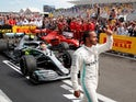 Lewis Hamilton celebrates winning the French Grand Prix on June 23, 2019