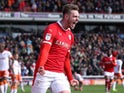 Liam Lindsay celebrates scoring for Barnsley on April 27, 2019