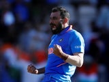 Mohammed Shami celebrates taking a hat-trick for India against Afghanistan on June 22, 2019