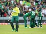 South Africa's Rassie van der Dussen walks after being dismissed against Pakistan on June 23, 2019