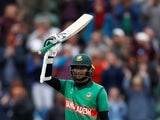 Bangladesh batsman Shakib Al Hasan celebrates a century against West Indies at the Cricket World Cup on June 17, 2019