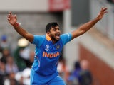 India bowler Vijay Shankar celebrates on June 16, 2019
