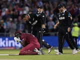 Carlos Brathwaite sinks to the floor against New Zealand on June 22, 2019