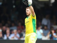 Aaron Finch in action for Australia on June 25, 2019