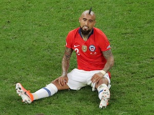 Chile midfielder Arturo Vidal in action during the Copa America quarter-final against Colombia on June 28, 2019