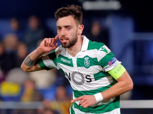 Bruno Fernandes celebrates after scoring for Sporting Lisbon in their Europa League clash with Villarreal in February 2019