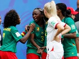 Cameroon's Ajara Nchout reacts after their first goal was disallowed following a VAR review against England