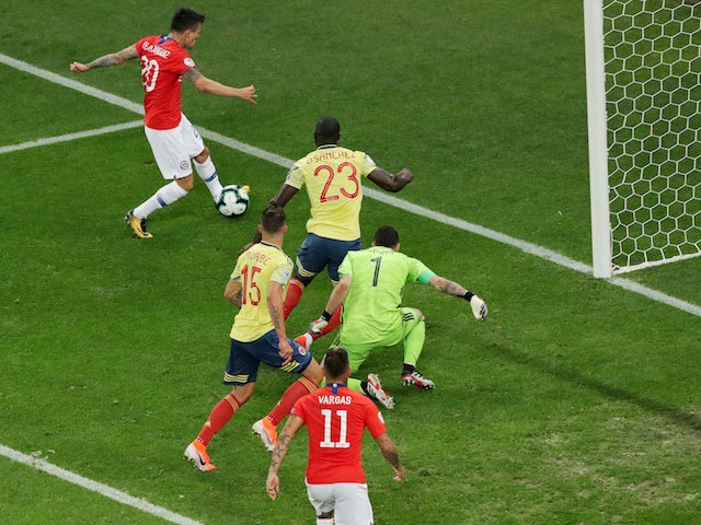 Chile midfielder Charles Aranguiz has a goal disallowed during the Copa America quarter-final with Colombia on June 28, 2019