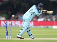 England batsman James Vince is bowled against Australia on June 25, 2019
