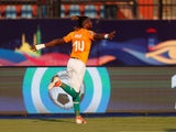 Ivory Coast's Jonathan Kodjia celebrates scoring their first goal against South Africa on June 24, 2019