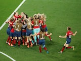 Norway Women's team celebrate after beating Australia in the World Cup last-16 on June 22, 2019