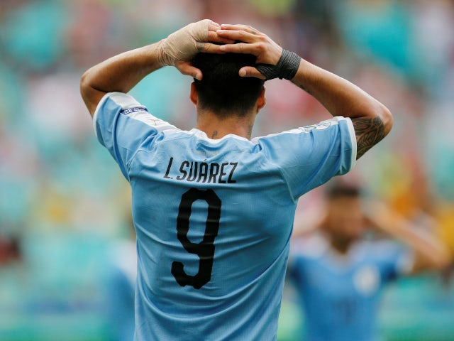 Luis Suarez reacts after missing a chance for Uruguay in their Copa America defeat to Peru on June 29, 2019