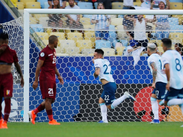 Lautaro Martinez celebrates after opening the scoring for Argentina in their Copa America clash with Venezuela on June 28, 2019