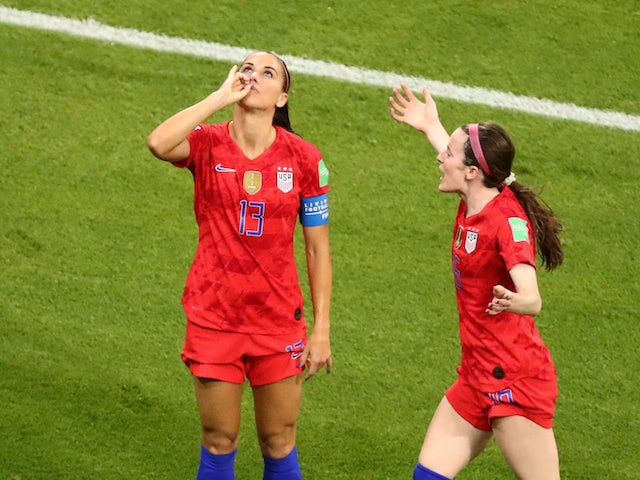 Alex Morgan pictured celebrating against England on July 2, 2019