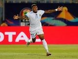 Britt Assombalonga celebrates scoring for DR Congo on June 30, 2019