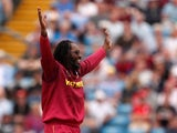 Chris Gayle celebrates for West Indies on July 4, 2019