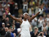 Cori Gauff celebrates winning her second-round match at Wimbledon on July 3, 2019