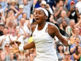 Cori Gauff celebrates winning her third-round match at Wimbledon on July 5, 2019