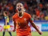 Jackie Groenen celebrates scoring for the Netherlands on July 3, 2019