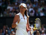 Britain's Johanna Konta celebrates after winning her second round match against Czech Republic's Katerina Siniakova on July 4, 2019