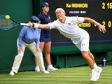 Kei Nishikori in action at Wimbledon on July 2, 2019