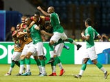 Madagascar's Faneva Andriatsima celebrates scoring their second goal with teammates on July 7, 2019