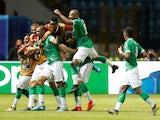Madagascar's Faneva Andriatsima celebrates scoring their second goal with teammates on July 7, 2019