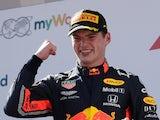 Max Verstappen celebrates winning the Austrian GP on June 30, 2019