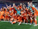 Players of the Netherlands Women celebrate winning the match against Sweden on July 3, 2019