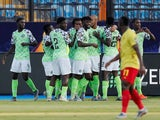 Nigeria's Odion Ighalo celebrates scoring their first goal with team mates on July 6, 2019