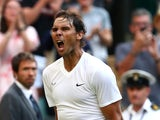 Spain's Rafael Nadal celebrates winning his second round match against Australia's Nick Kyrgios on July 4, 2019