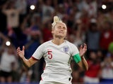 England's Steph Houghton reacts after missing a penalty against USA in the World Cup semi-final on July 2, 2019