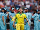 Australia's Steve Smith after teammate Pat Cummins is caught out on July 11, 2019