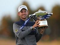Bernd Wiesberger celebrates winning the Scottish Open title on July 14, 2019