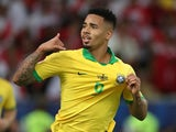 Gabriel Jesus celebrates scoring for Brazil in the Copa America final on July 7, 2019