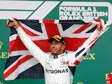 Lewis Hamilton celebrates winning the British Grand Prix on July 14, 2019