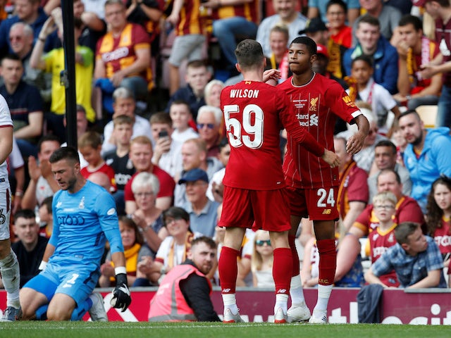 Liverpool's Rhian Brewster celebrates scoring their third goal against Bradford on July 14, 2019