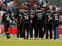New Zealand's Kane Williamson and team mates celebrate after the match against India on July 10, 2019