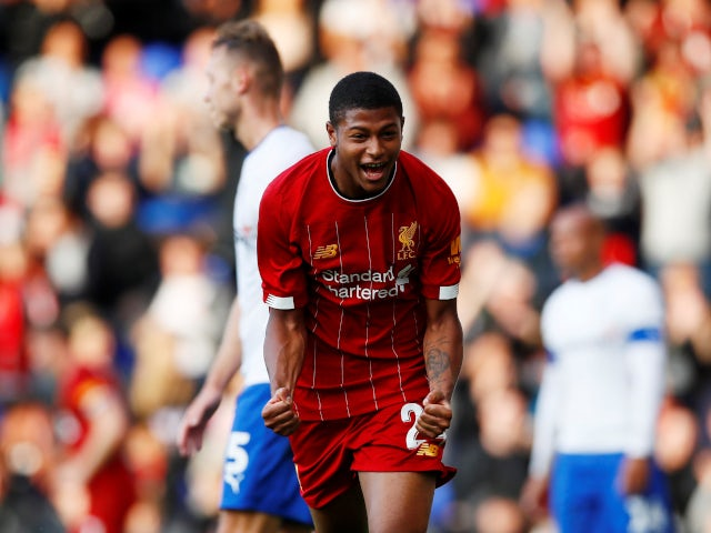 Rhian Brewster celebrates his opening goal in Liverpool's pre-season friendly with Tranmere Rovers on July 11, 2019