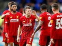 Nathaniel Clyne celebrates with his teammates after giving Liverpool an early lead against Tranmere Rovers in their pre-season friendly on July 11, 2019