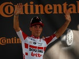 Lotto Soudal rider Caleb Ewan of Australia celebrates winning the stage on the podium on July 17, 2019
