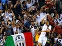 Juventus' Cristiano Ronaldo celebrates scoring their second goal against Tottenham on July 21, 2019