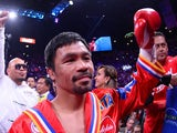 Manny Pacquiao enters the ring to face Keith Thurman (not pictured) for their WBA welterweight championship bout at MGM Grand Garden Arena on July 21, 2019