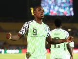 Nigeria's Odion Ighalo celebrates scoring their first goal against Tunisia on July 17, 2019