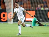 Algeria's Baghdad Bounedjah celebrates scoring against Senegal in the Africa Cup of Nations final on July 19, 2019