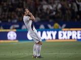 LA Galaxy forward Zlatan Ibrahimovic (9) celebrates his goal during the second half against the Los Angeles FC at Dignity Health Sports Park on July 20, 2019