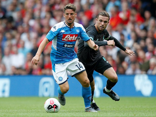 Napoli attacker Dries Mertens in action with Liverpool's Jordan Henderson in pre-season on July 28, 2019