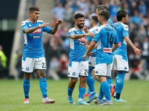 Napoli players celebrate Lorenzo Insigne's goal against Liverpool in pre-season on July 28, 2019