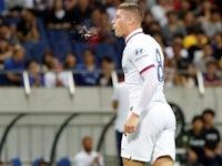 Ross Barkley celebrates scoring for Chelsea on July 23, 2019