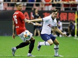 Tottenham Hotspur's Troy Parrott in action with Manchester United's Marcos Rojo in the International Champions Cup on July 25, 2019
